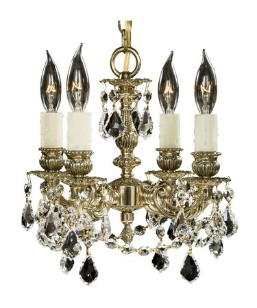 Shown in Polished Brass with Black Inlay finish, Clear Precision Pendalogue crystal and Pale Ivory Wax Candle Cover accent